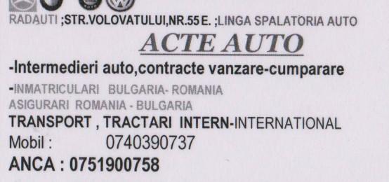 Acte auto. Inmatriculari Bulgaria-Romania. Tractari auto